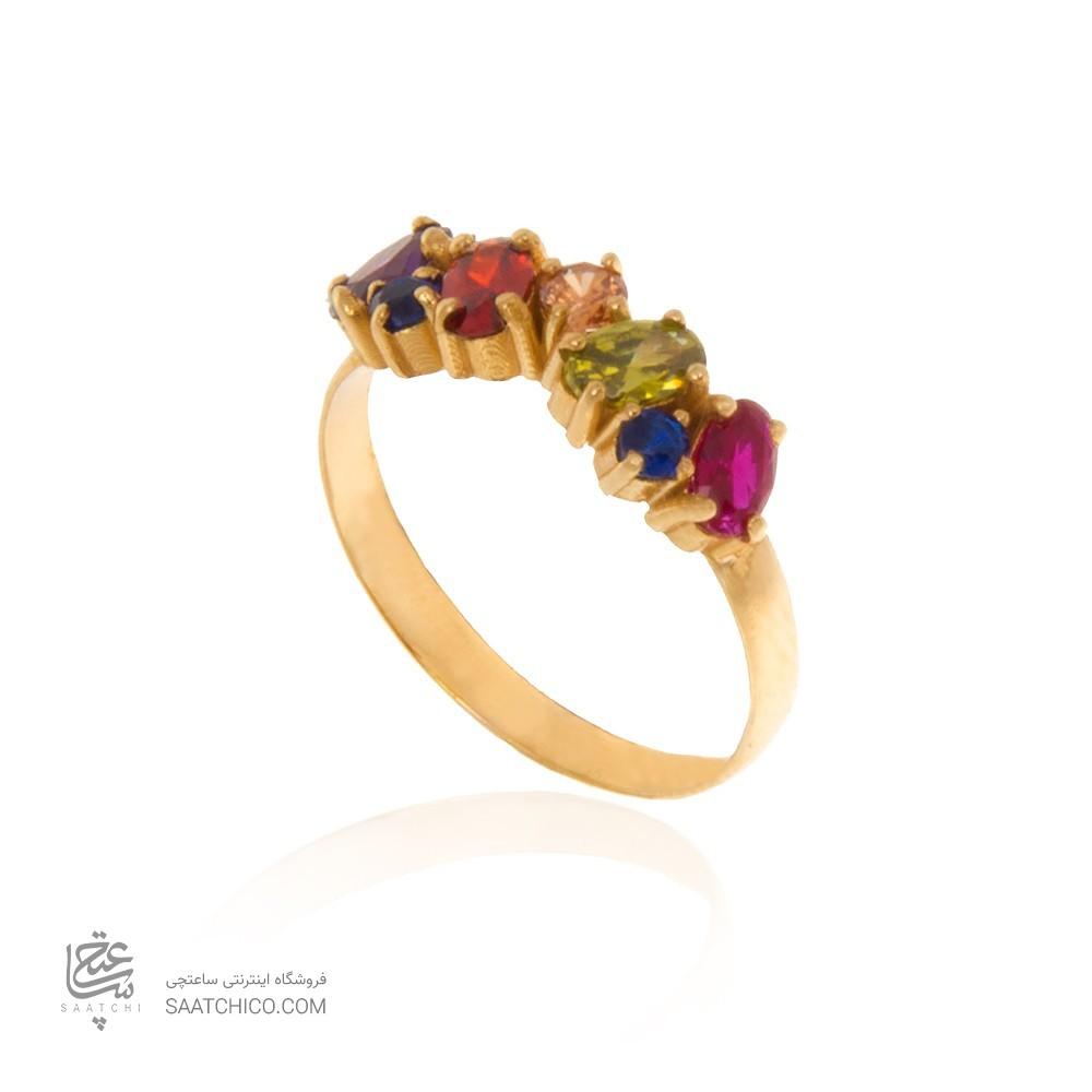 انگشتر طلا زنانه مولتی کالر با نگین های cz کد cr367