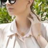 دستبند طلا زنانه طرح چهار پر ونکلیف با نگین رنگی  کد cb326