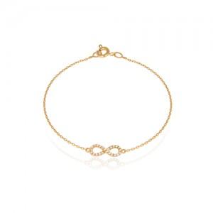 دستبند طلا زنانه طرح بینهایت با نگین کد cb327