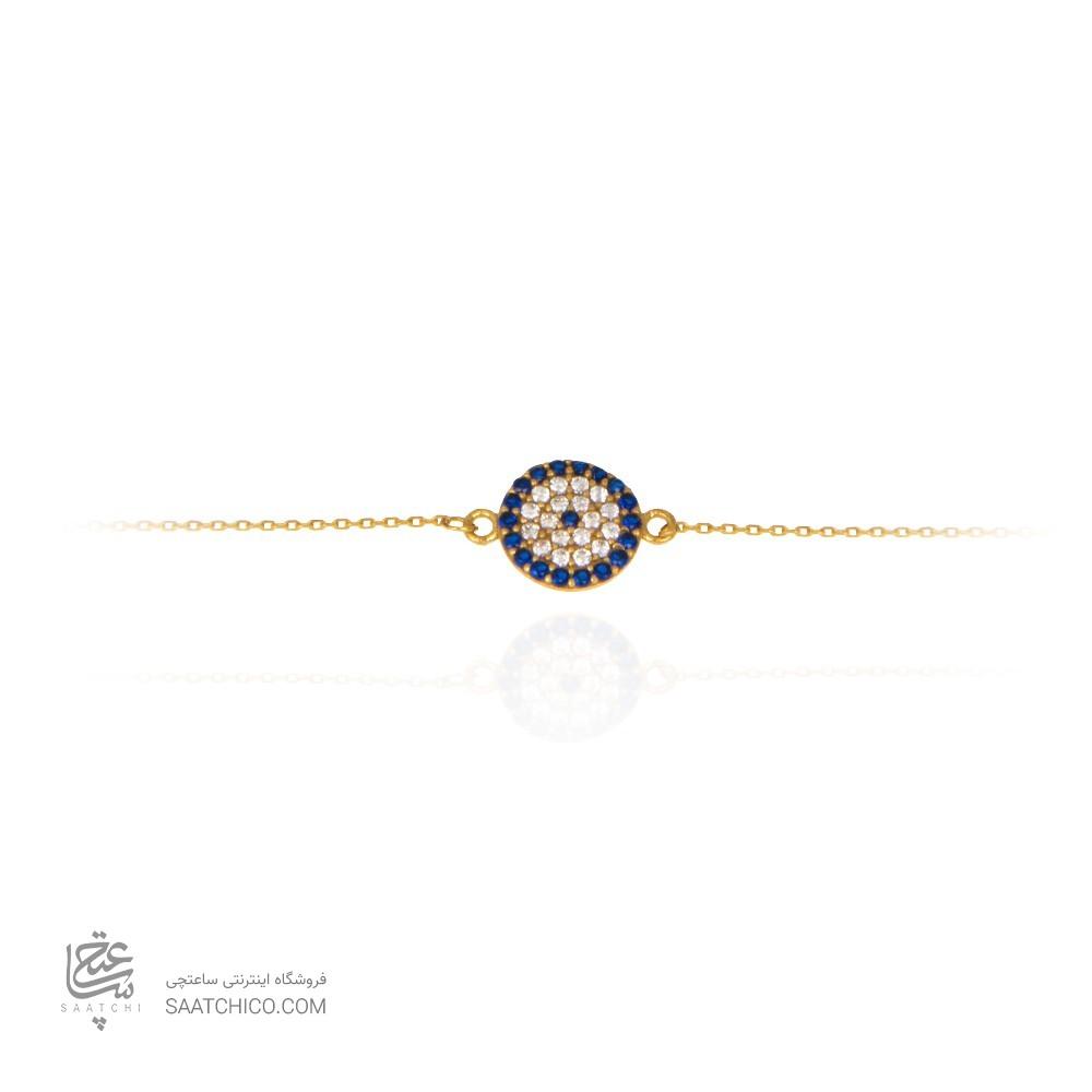 دستبند طلا زنانه طرح چشم نظر با نگین های cz  کد cb328