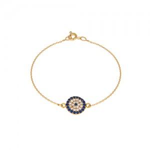 دستبند طلا زنانه طرح چشم نظر با نگین کد cb328
