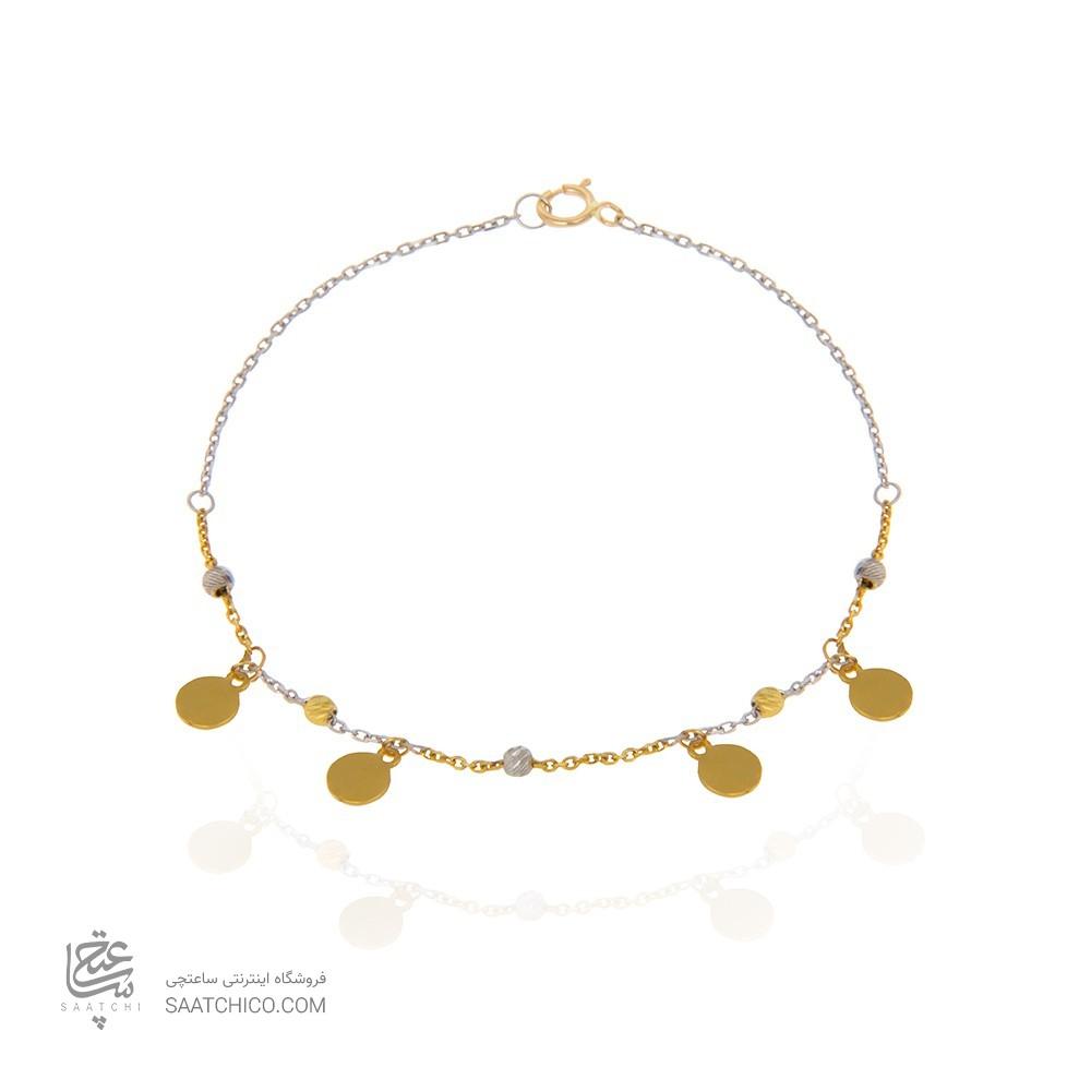 دستبند طلا زنانه با گوی البرنادو و پولک کد xb854