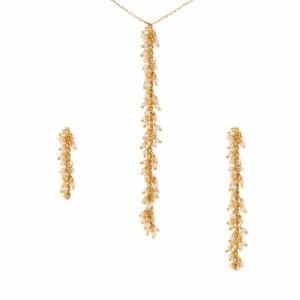 نیم ست طلا زنانه با مروارید کد xs210
