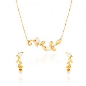 نیم ست طلا زنانه طرح شاخه گل با مروارید کد xs216