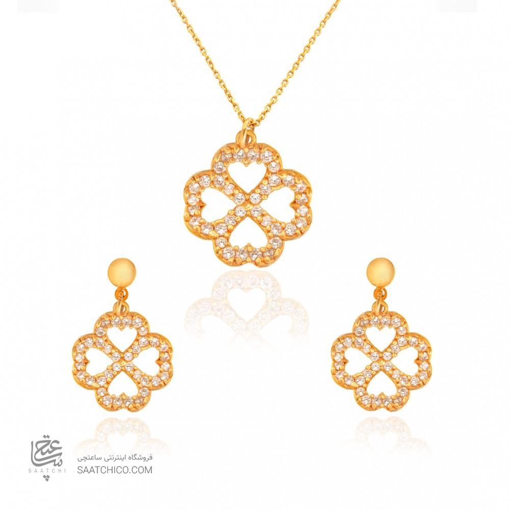 نیم ست طلا زنانه طرح گل با نگین کد CS316