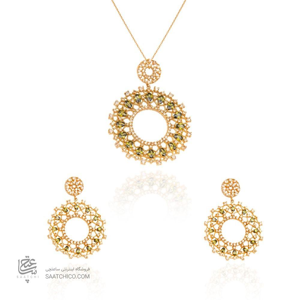 نیم ست طلا زنانه طرح هندسی با نگین های cz کد CS322