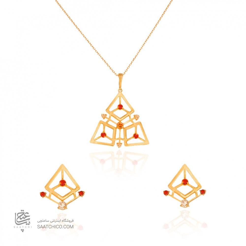 نیم ست طلا زنانه طرح هندسی با نگین های cz کد CS323