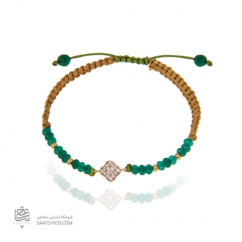 دستبند طلا زنانه طرح چهار پر ونکلیف با نگین  و گوی طلا کد Xb855