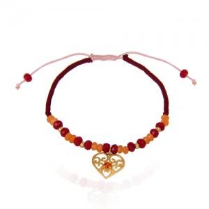 دستبند طلا زنانه طرح قلب با نگین و گوی طلا کد xb858