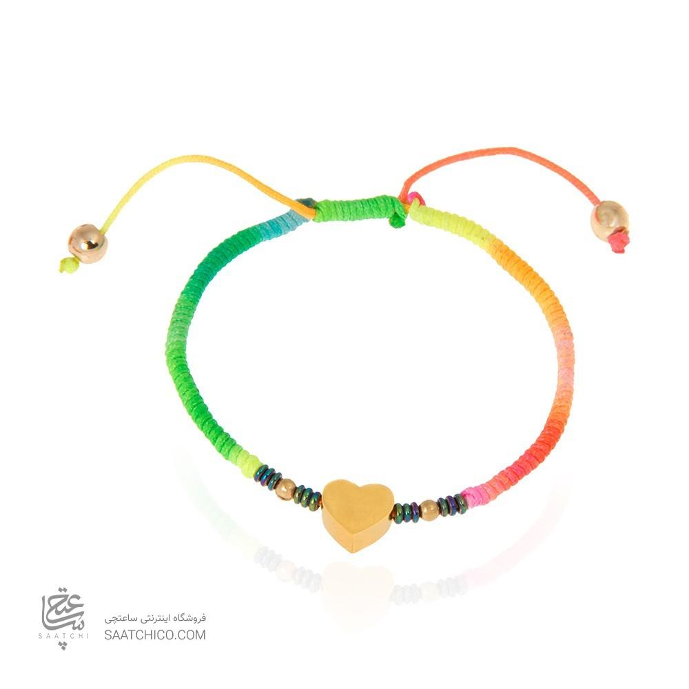 دستبند طلا زنانه طرح قلب با گوی طلا کد xb862