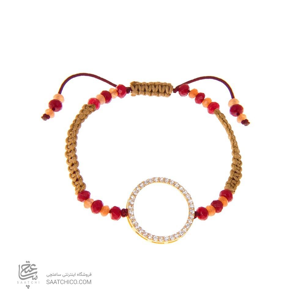 دستبند طلا زنانه طرح دایره با نگین کد Xb863