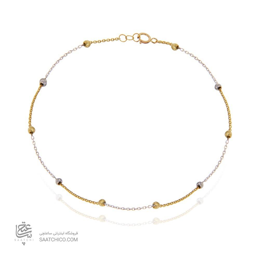 پابند طلا زنانه با گوی طلا دو رنگ کد ca402