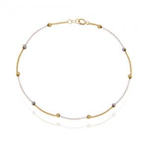 پابند طلا زنانه با گوی البرنادو دو رنگ کد ca402