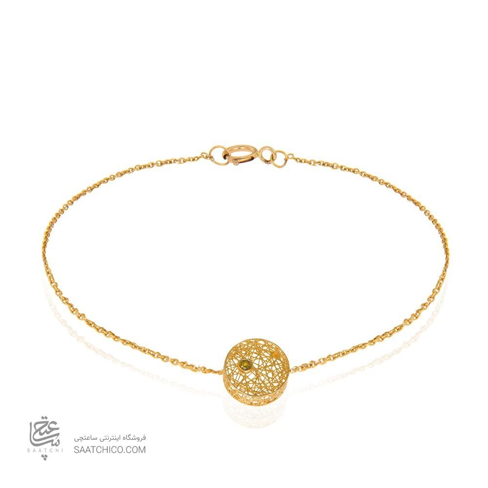 دستبند طلا زنانه طرح دایره با نگین رنگی کد cb329