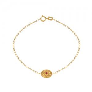 دستبند طلا زنانه طرح بیضی با نگین رنگی کد cb330