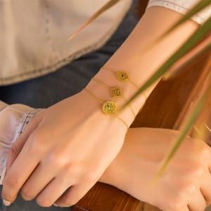 دستبند طلا زنانه طرح چشم با نگین رنگی کد cb331