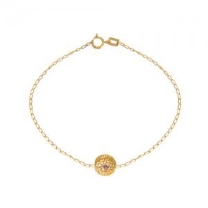 دستبند طلا زنانه طرح دایره با نگین رنگی کد cb332