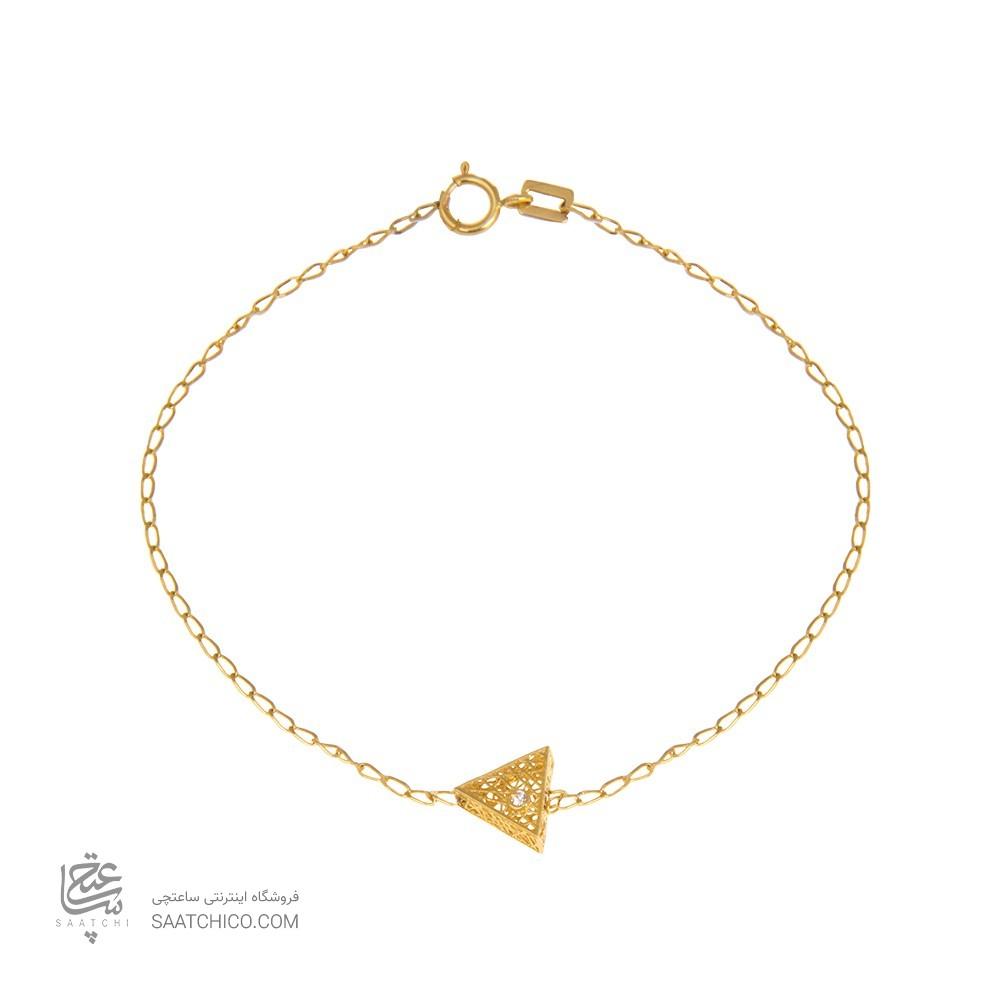 دستبند طلا زنانه طرح مثلث با نگین رنگی کد cb333