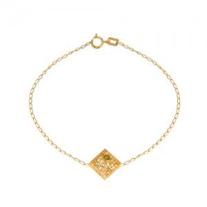 دستبند طلا زنانه طرح لوزی با نگین رنگی کد cb334