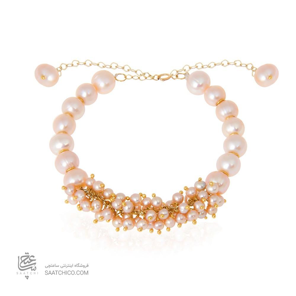 دستبند طلا زنانه با مروارید  کد xb708