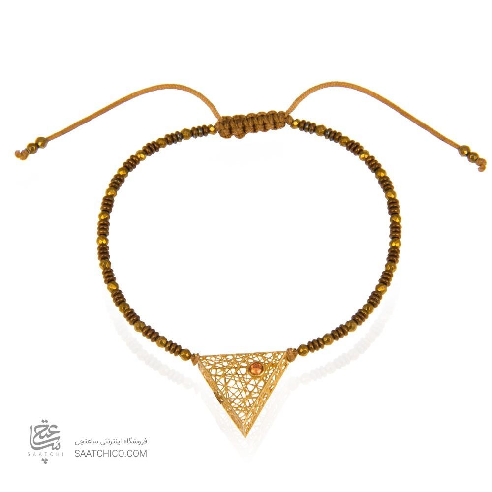 دستبند طلا زنانه طرح مثلث با نگین رنگی کد xb864