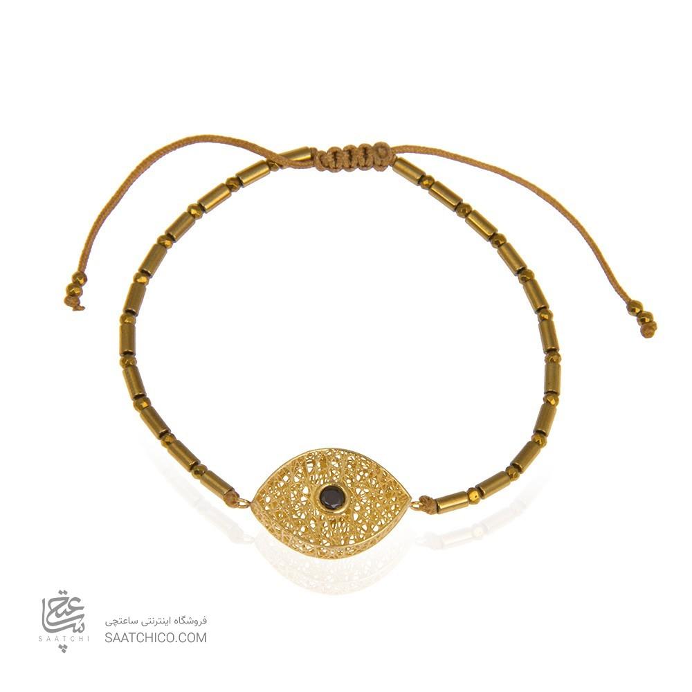 دستبند سنگ با پلاک طلا طرح فیوژن چشم کد xb865