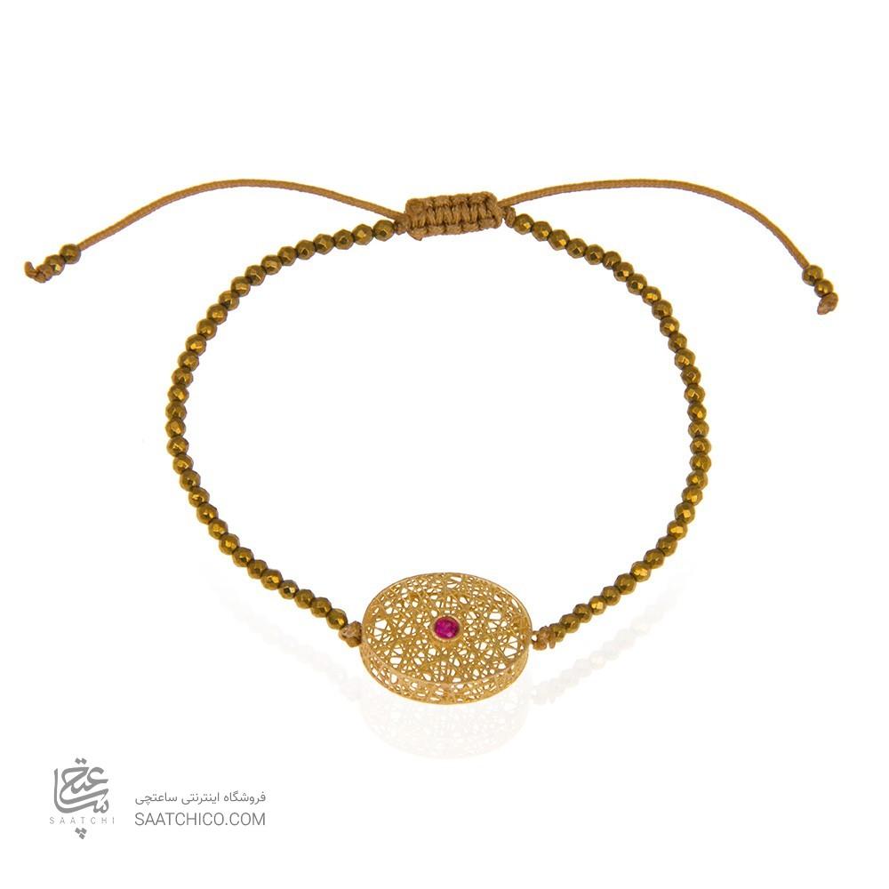دستبند سنگ با پلاک طلا طرح فیوژن دایره کد xb866