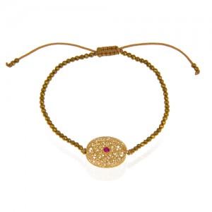 دستبند طلا زنانه طرح بیضی با نگین رنگی کد xb866