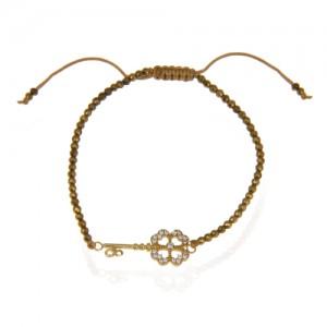دستبند طلا زنانه طرح کلید با نگین کد xb867