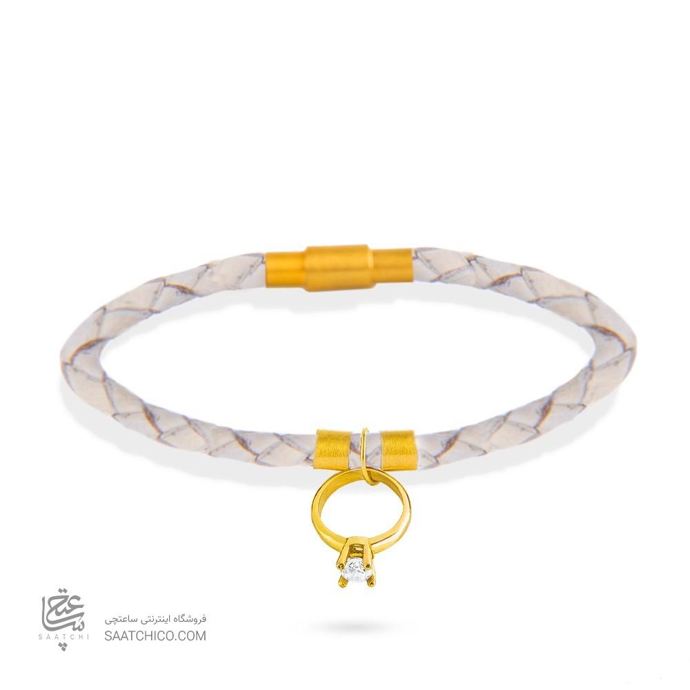 دستبند چرم و طلا زنانه با آویز حلقه با نگین کد xb868