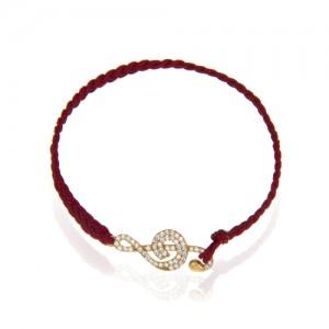 دستبند طلا زنانه طرح کلید سل با نگین کد xb869