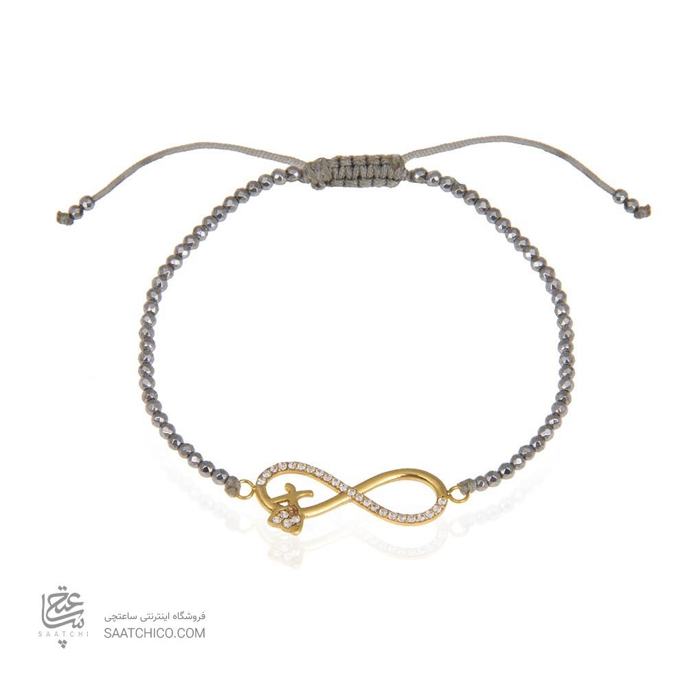 دستبند طلا زنانه طرح بی نهایت با نگین کد xb871