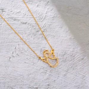 گردنبند طلا زنانه طرح فرشته با نگین های cz کد cn356