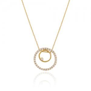 گردنبند طلا زنانه طرح هندسی با نگین های cz کد cn357