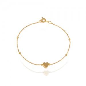 پابند طلا زنانه طرح قلب کد ca403