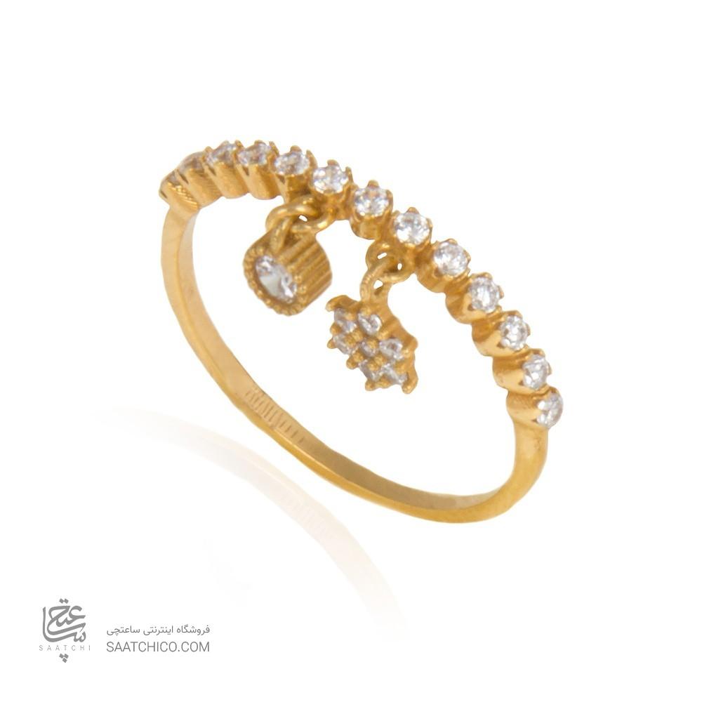 انگشتر طلا زنانه آویز دار  با نگین cz کد cr369