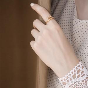 انگشتر طلا زنانه آویز دار  با نگین کد cr369