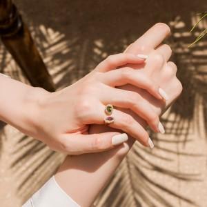 انگشتر طلا زنانه دو طرفه با سنگ و نگین کد cr370