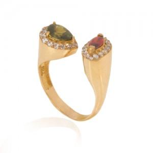 انگشتر طلا زنانه دو طرفه با سنگ و نگین cz کد cr370