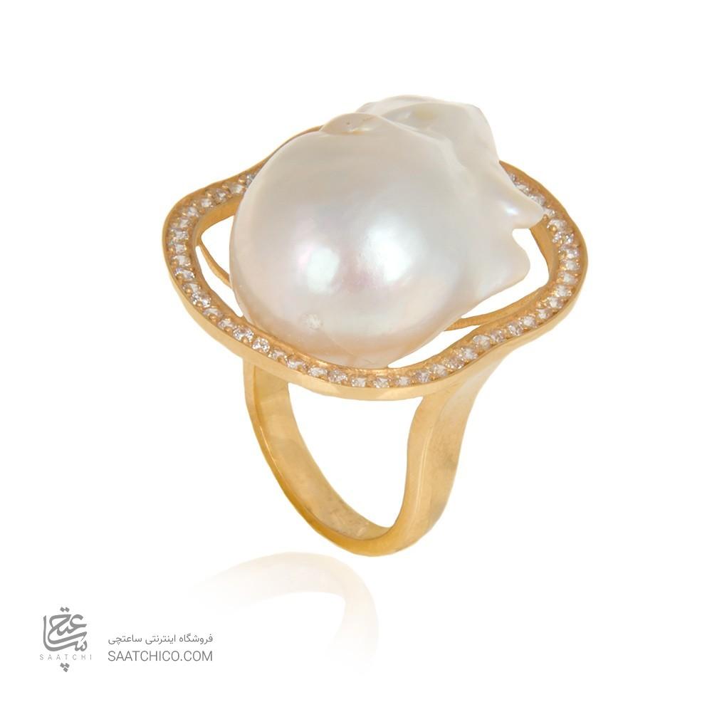 انگشتر طلا زنانه با نگین و مروارید کد cr371