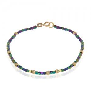 دستبند طلا با گوی البرنادو و سنگ حدید 7رنگ کد xb872