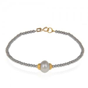 دستبند طلا زنانه با مروارید کد xb876
