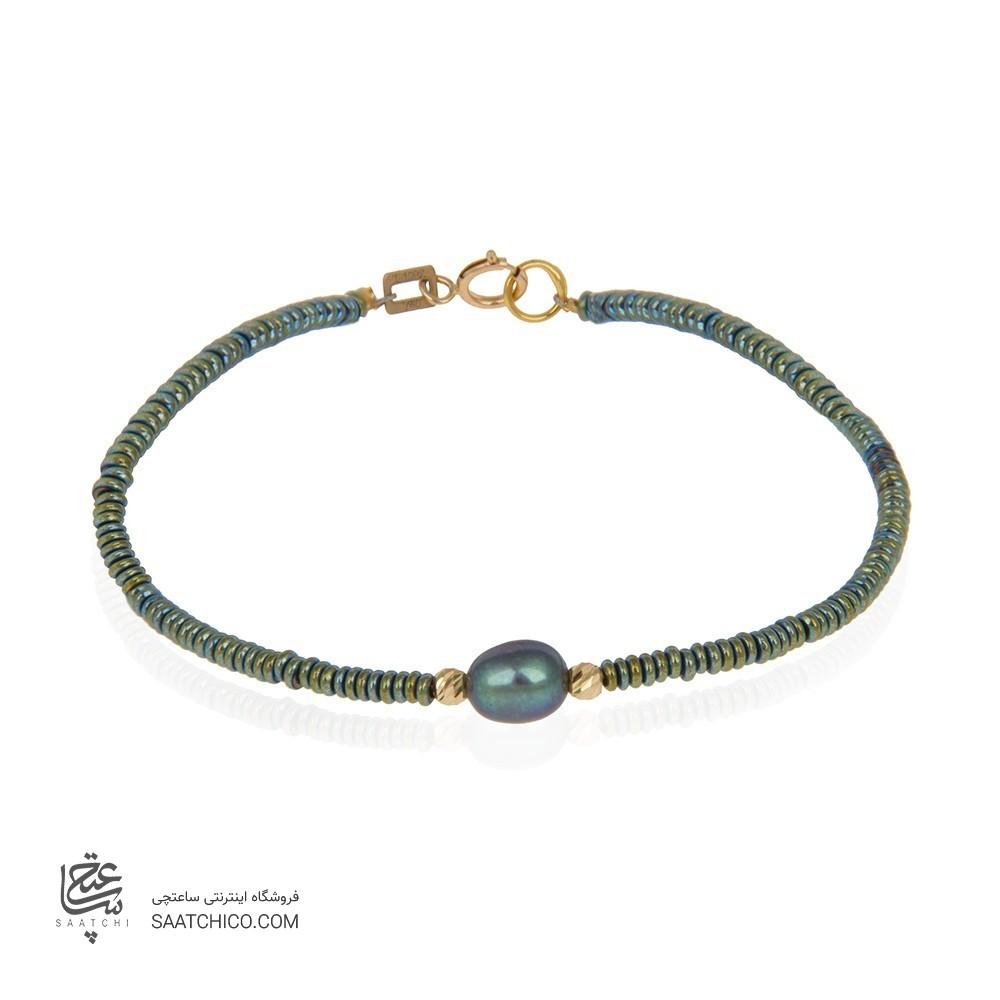 دستبند طلا زنانه با مروارید کد xb878