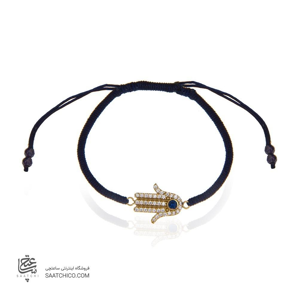 دستبند طلا زنانه طرح دست همسا با نگین کد xb870