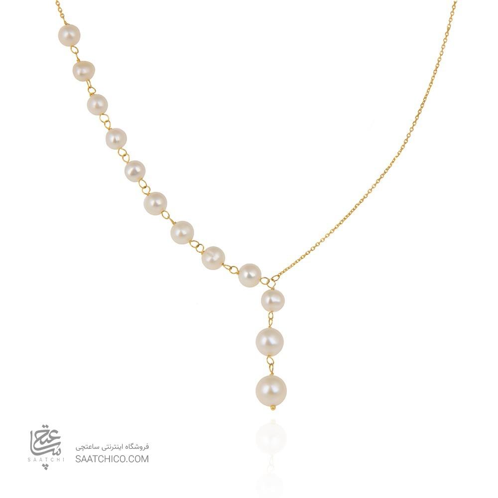 گردنبند طلا زنانه با مروارید کد xn125