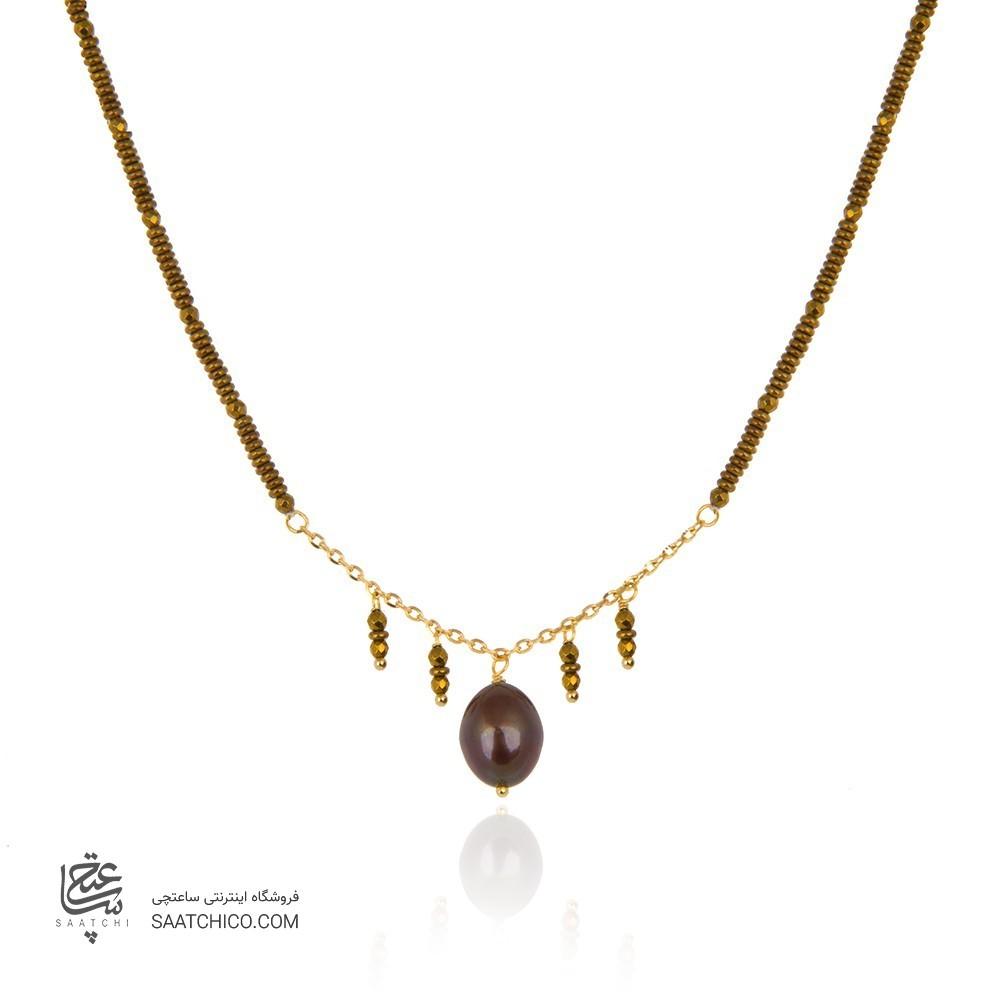 گردنبند طلا زنانه با مروارید کد xn129