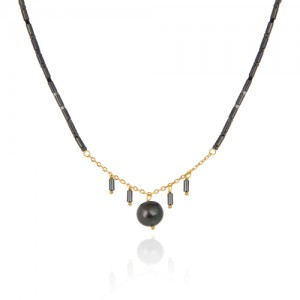 گردنبند طلا زنانه با مروارید و سنگ کد xn130