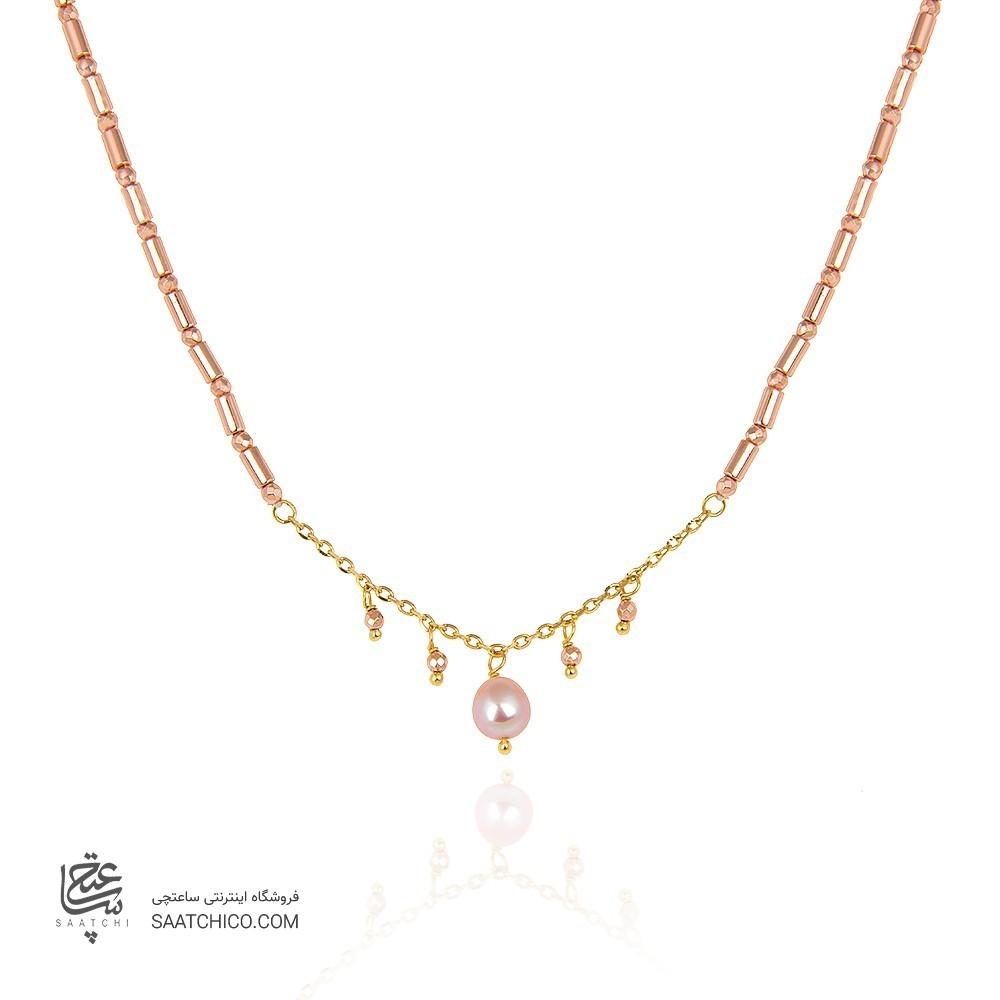 گردنبند طلا زنانه با مروارید و سنگ کد xn131