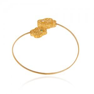 دستبند طلا زنانه طرح گل چهار پر ونکلیف با نگین cz کد cb335
