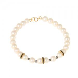 دستبند طلا زنانه با مروارید و نگین کد xb707